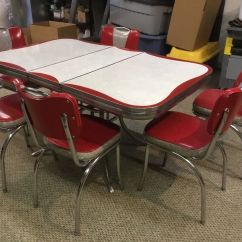 Red Kitchen Table Set Island Exhaust Fans Hoods Vintage 1950s Formica Chrome And Chairs