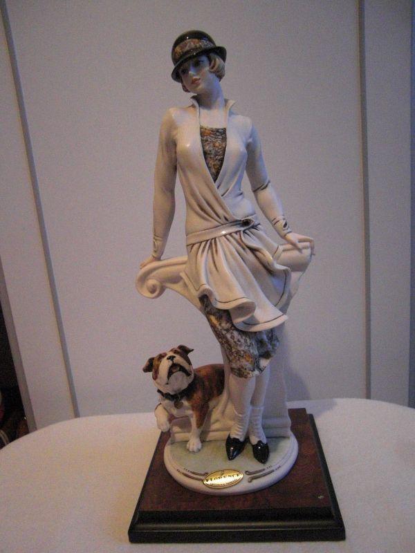 Capodimonte Florence Giuseppe Armani Resin Lady & Dog
