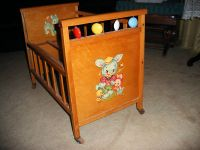 Whitney Bros Antique Toy Wooden BABY Doll Crib 1950s ...