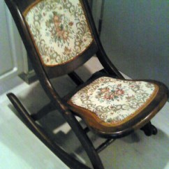 Antique Rocking Chair Price Guide Covers Wedding Cornwall Vintage Folding Ladies Sewing Rocker Original Tapestry Upholstery -- ...