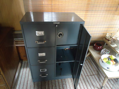 vintage steel master 3 drawer file cabinet with safe