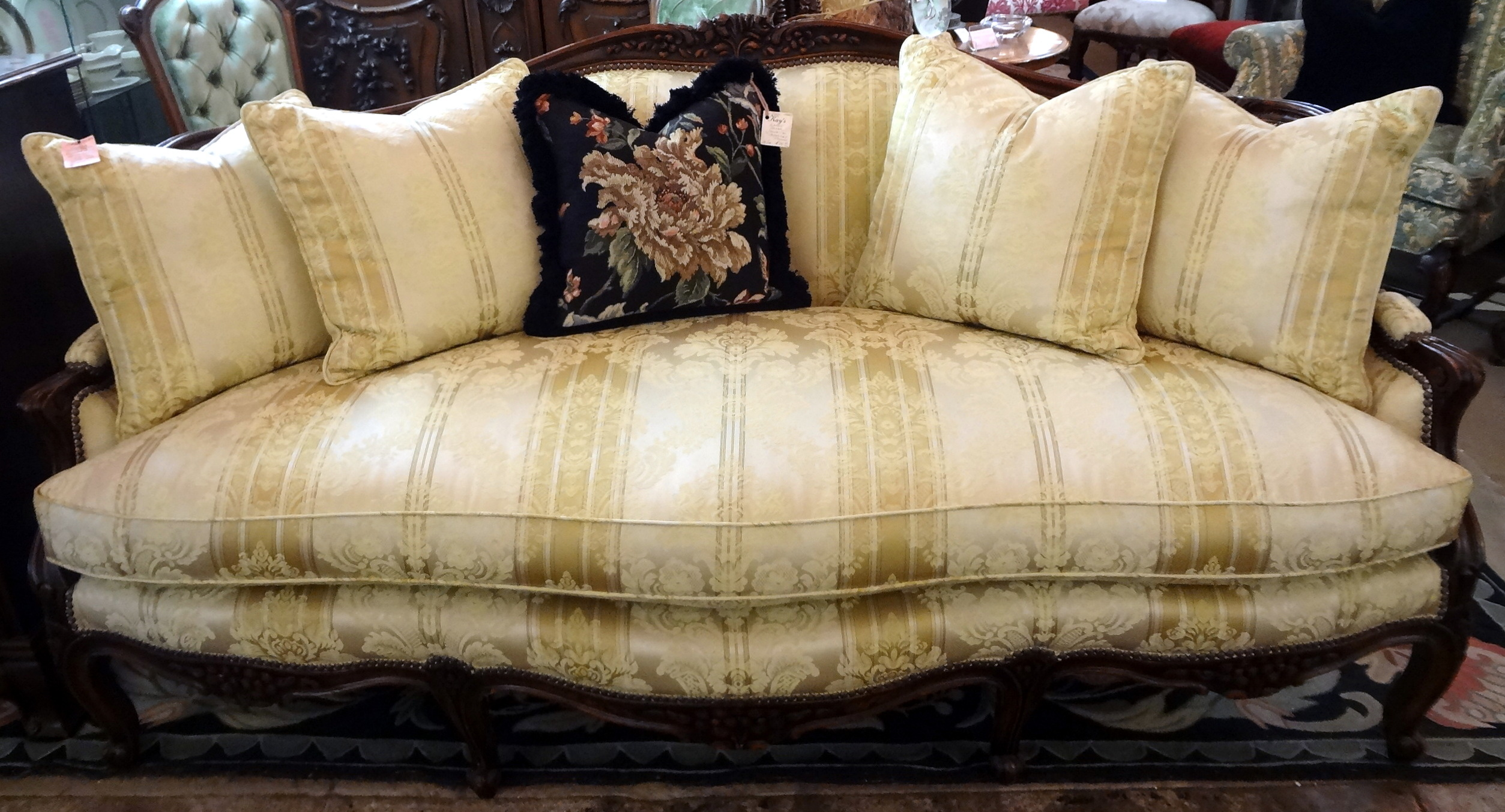 French Louis XV Style Hand Carved Walnut Sofa w Four Down Filled