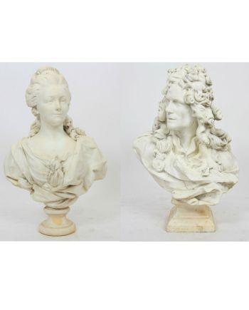 COUPLE DE BUSTE EN MARBRE D'APRÈS JEAN-JACQUES CAFFIERI (1725-1792), FRANCE XIXE SIECLE