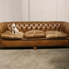 Brown Chesterfield Sofa Bed Desk Antique In Leather