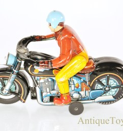 vintage japanese masudaya modern toys battery operated tin litho atom motorcycle w driver for sale [ 1227 x 867 Pixel ]