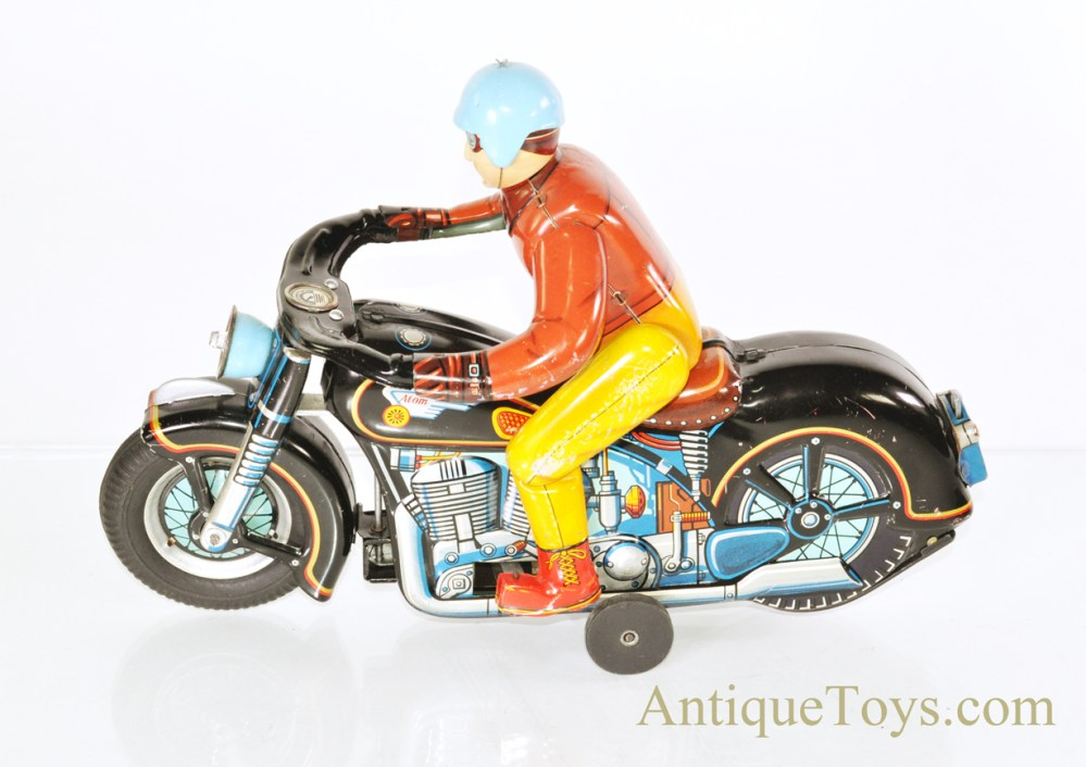 medium resolution of vintage japanese masudaya modern toys battery operated tin litho atom motorcycle w driver for sale