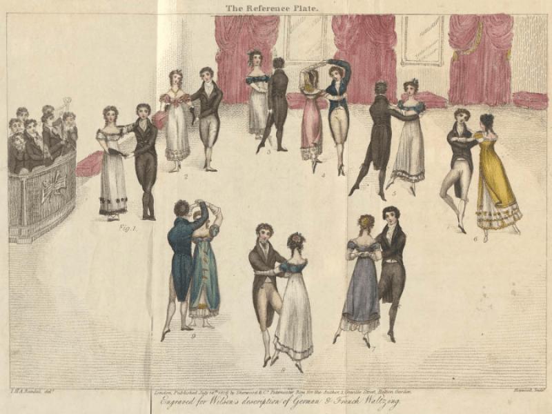 Los pasos del vals de Regencia, incluidos los cuatro pasos de marzo, el vals lento, el vals salteado, el vals Jetté y el vals alemán, 1816.