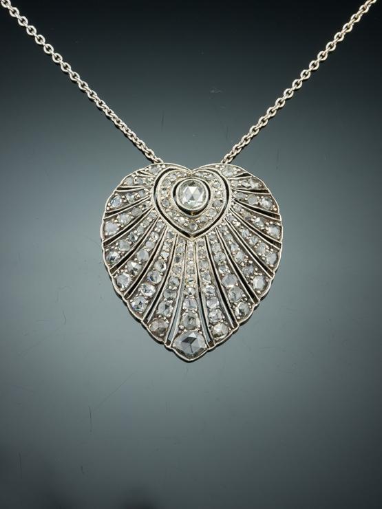 RARE ANTIQUE ART DECO 348 Ct DIAMOND HEART PENDANT