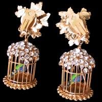 Vintage Siman Tu Bird in a Cage Pendant Earrings