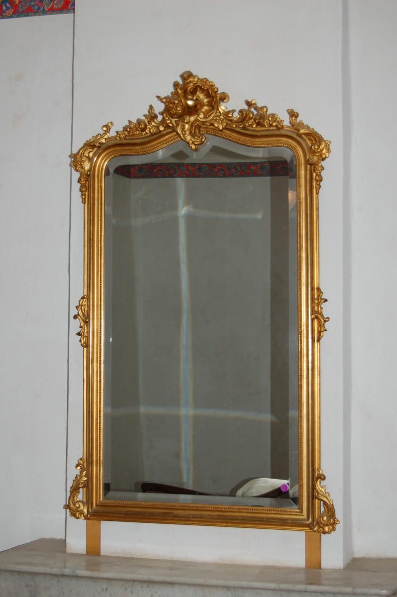 Miroir En Bois Dor Fronton Coquille Louis XV Et Rinceaux