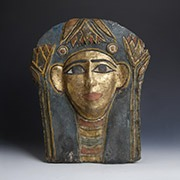 Ancient Egyptian Beaded Mummy Mask with Winged Scarab