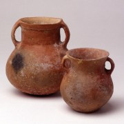 Beautiful African-Roman Redware Amphoriskos with Gladiatorial Scene
