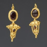 Greek Gold Earrings with Garnet