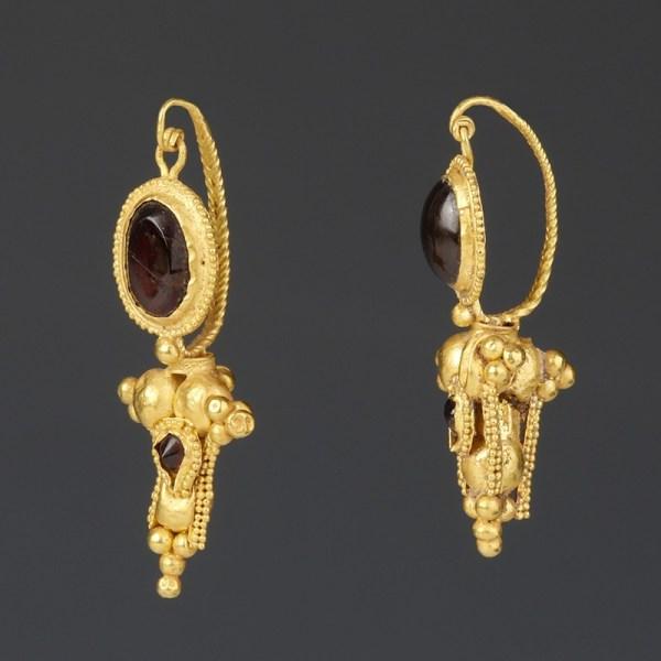 Greek Gold Earrings with Garnet