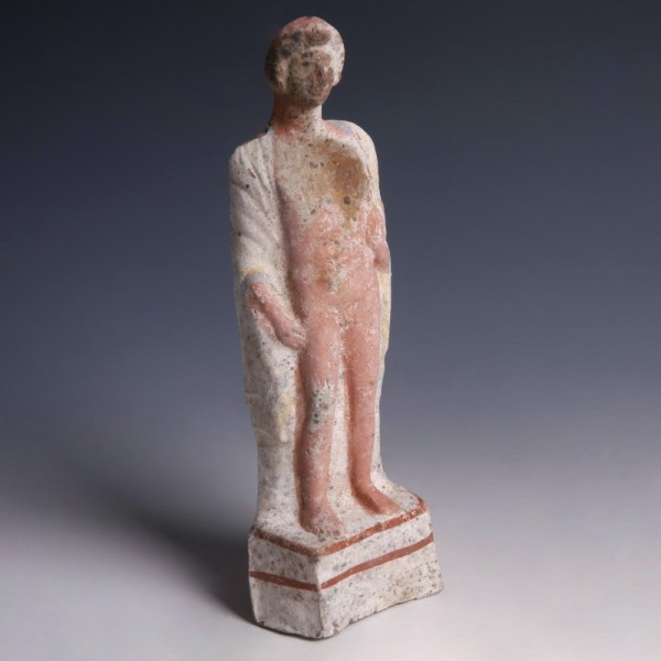 Greek Terracotta Statuette of a Young Man