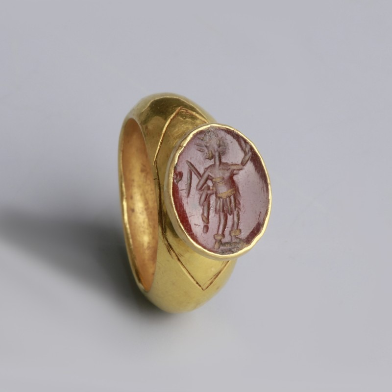 Roman Gold Ring with Mars Intaglio