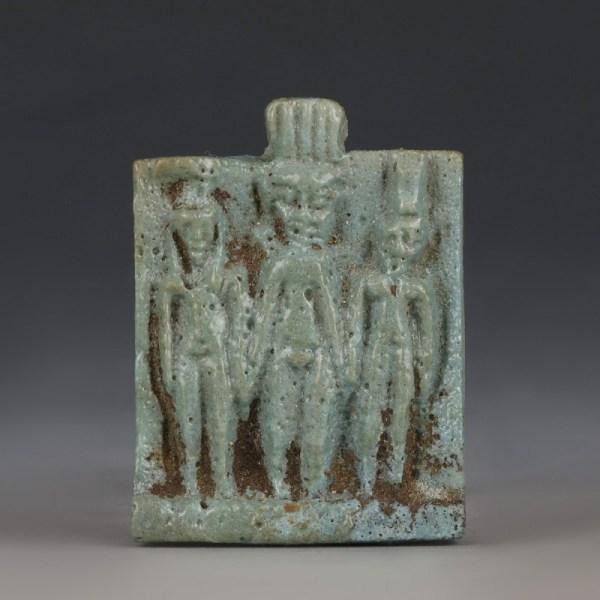 Glazed Faience Osirian Triad Amulet