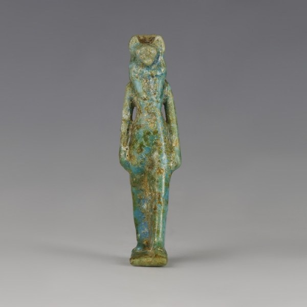 Superb Egyptian Glazed Sekhmet Amulet
