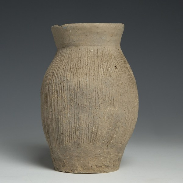 Chinese Grey-ware Neolithic Qijia Culture Cord-Impressed Pottery Jar