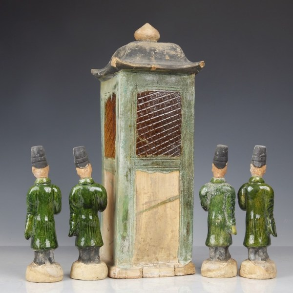 A Chinese Ming Dynasty Palanquin and Attendants