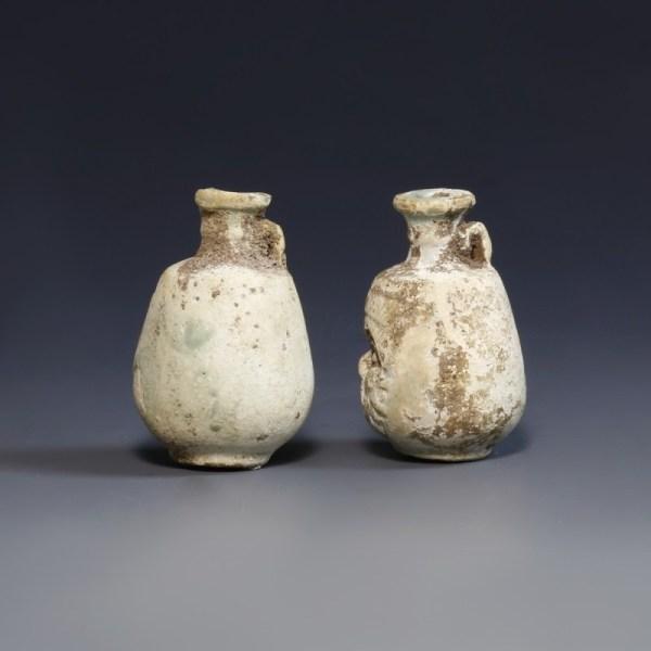 Pair Of Egyptian Faience Perfume Bottles