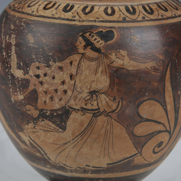 Finely Decorated Etruscan Oinochoe with Satyr and Maenads