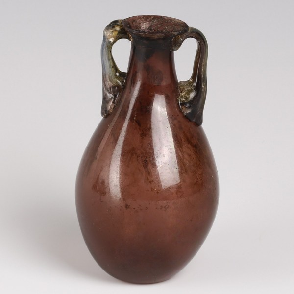 Ancient Roman Aubergine Glass Flask