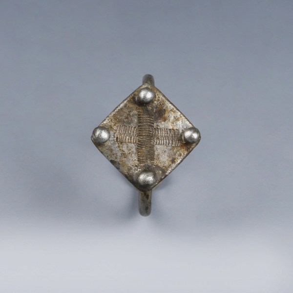 Byzantine Silver Signet Ring with Cross Insignia