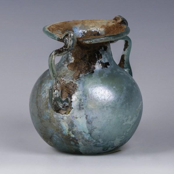 Roman Blue Glass Jar with Trail Decoration