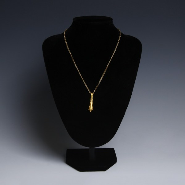 Roman Gold Necklace with Club of Hercules Pendant