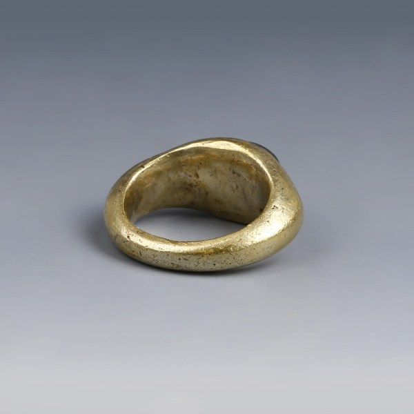 Solid Electrum Roman Ring with Serapis