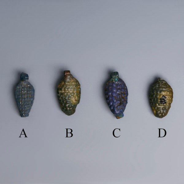 Selection Of Egyptian Faience Grape Bunch Amulets