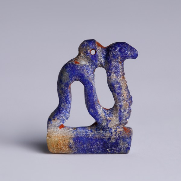 Egyptian Amulet of a Cobra in Lapis Lazuli