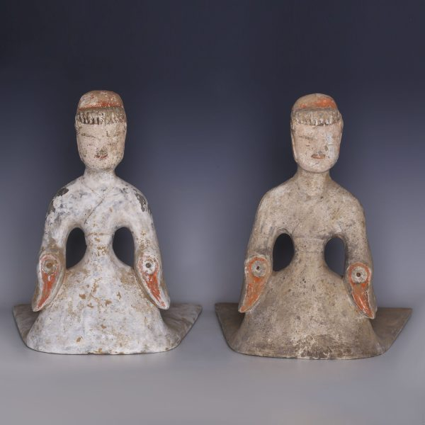 Pair of Han Dynasty Female Court Ladies
