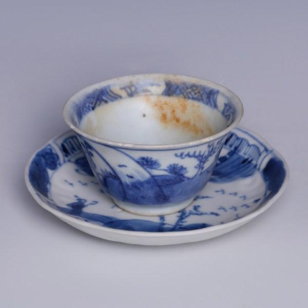 Kangxi Blue & White Saucer & Teacup Set