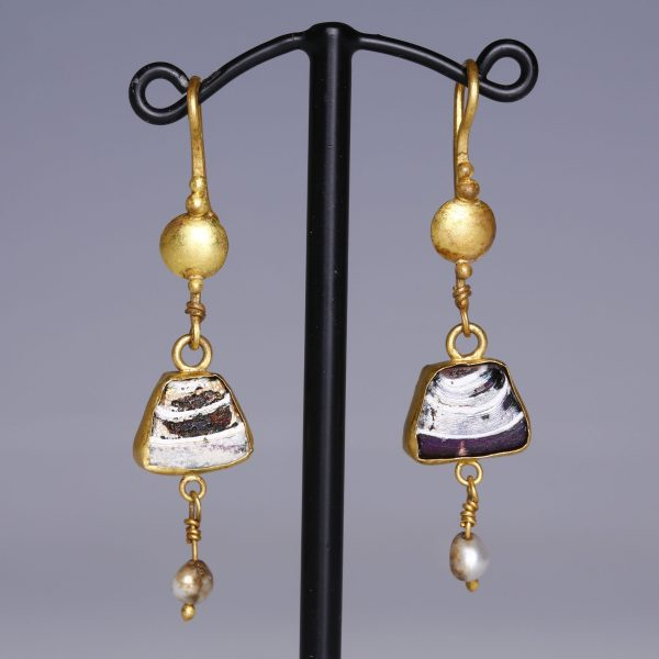Roman Earrings with Glass and Pearls