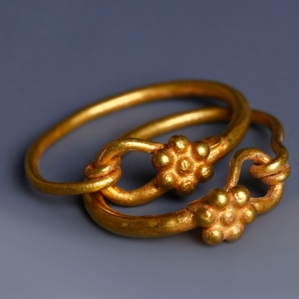 Roman Gold Hoop Earrings with Daisies
