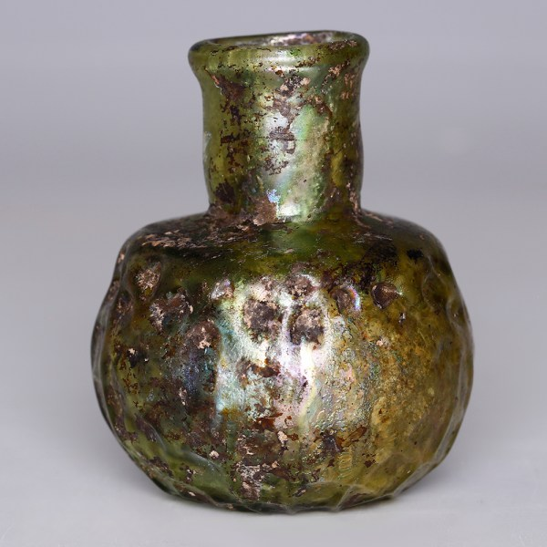 Byzantine Green Glass Jar with Cross
