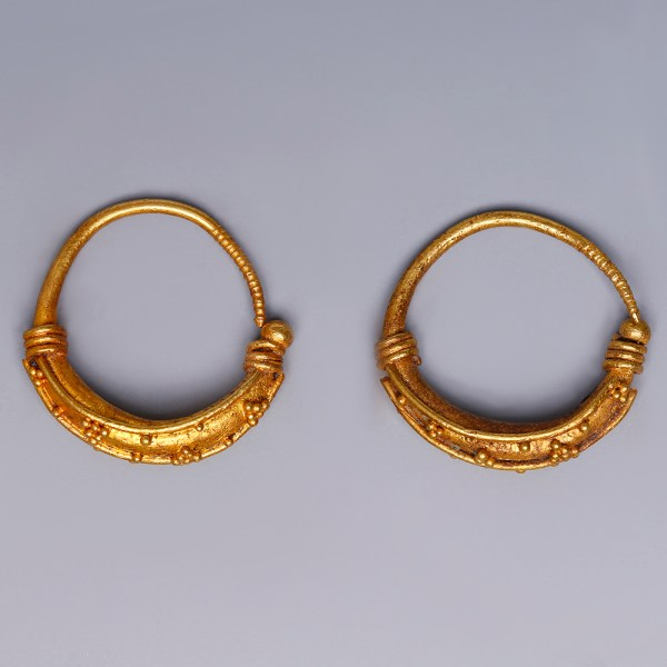 Ancient Greek Gold Crescent Hoop Earrings
