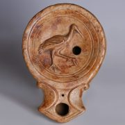 Roman Terracotta Oil Lamp with Stork