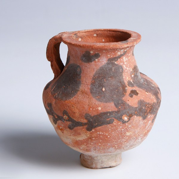 Nabataean Painted Terracotta Jug with Handle