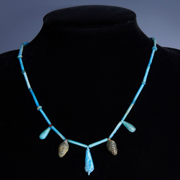 Egyptian Blue Faience Necklace with Vegetal Amulets