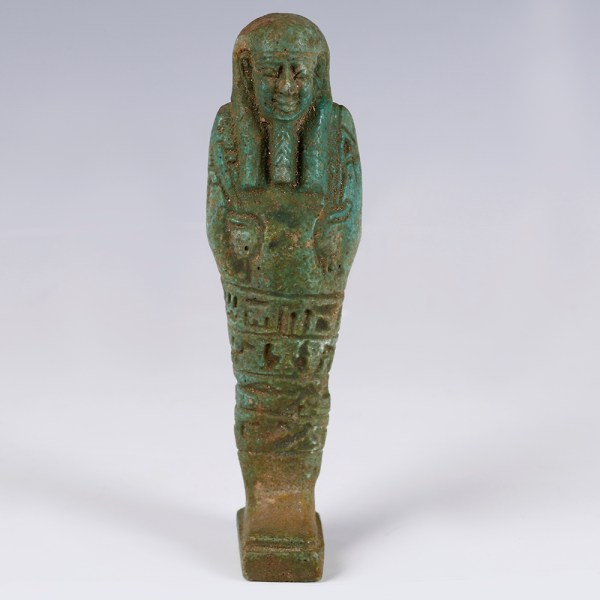 Egyptian Green Glazed Faience Ushabti with Provenance