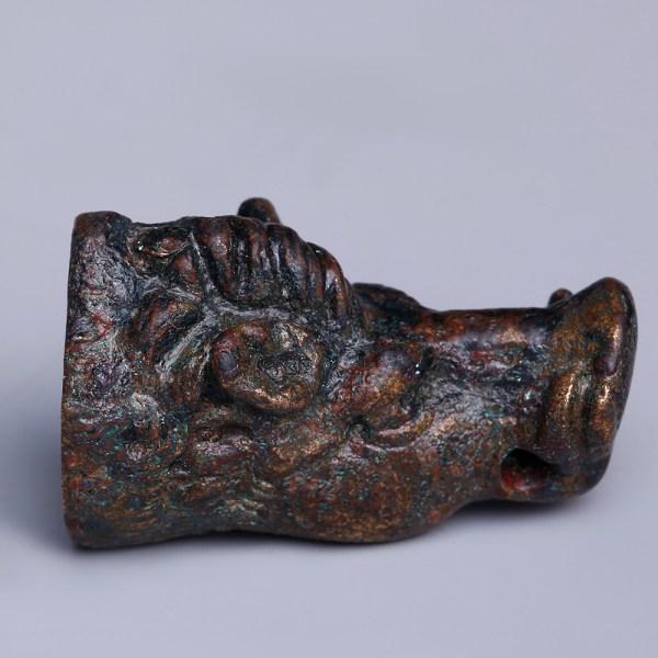 Extremely Fine Roman Bronze Boar Finial