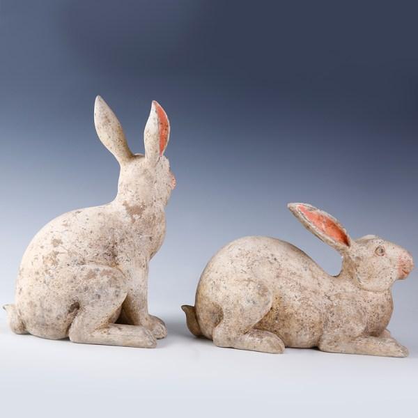 Chinese Western Han Pair of Rabbits Mingqi
