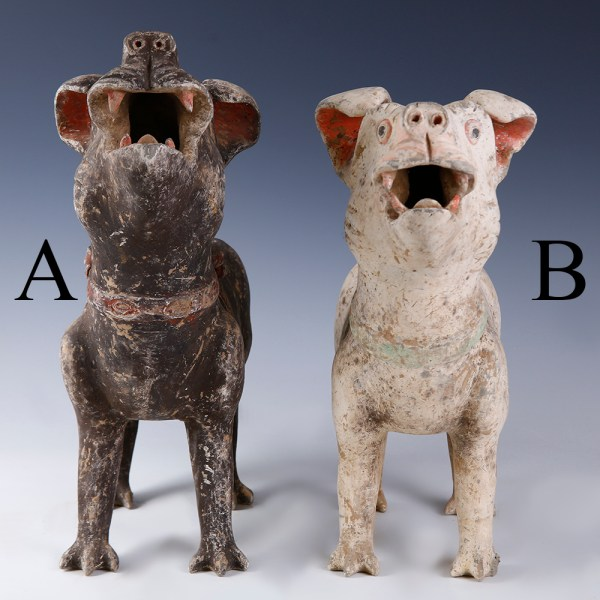 Chinese Han Dynasty Guardian Dogs Pair