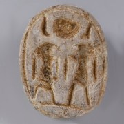 Egyptian Steatite Scarab with Amun-Ra and Horus
