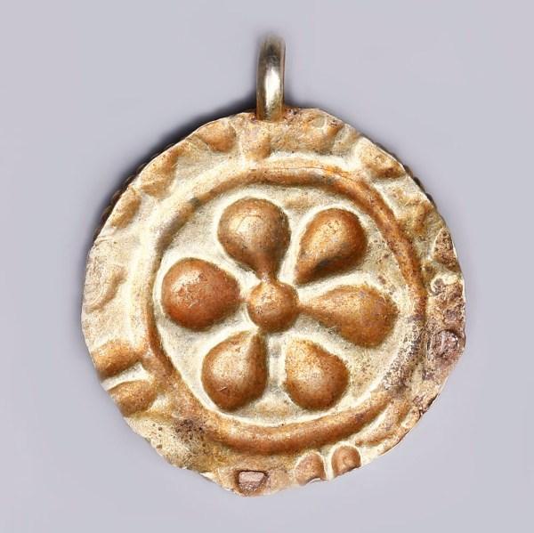 Gold Repoussé Roundel Pendant with Rosette Motif
