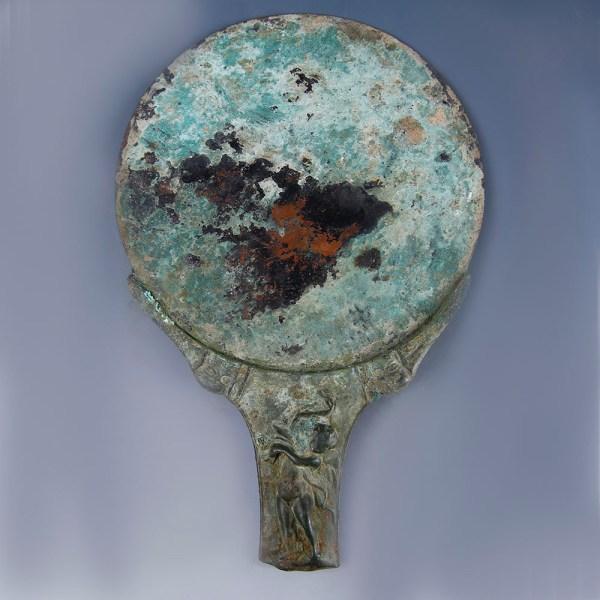 Roman Bronze Mirror with Decorative Patera Handle