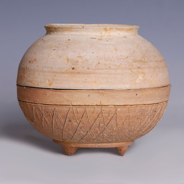 Chinese Neolithic Qijia Culture Tripod Pot with Bowl Lid